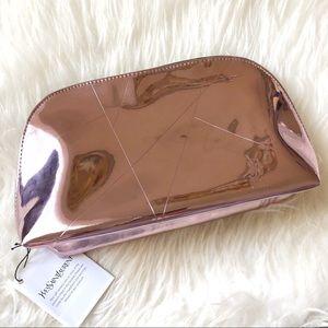NWT Yves Saint Laurent Metallic Pink Cosmetic Bag